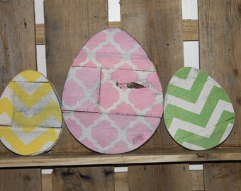 Reclaimed Wood Easter eggs set of two, in choice of colors