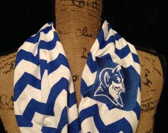 Duke University Infinity Scarf Blue Chevron