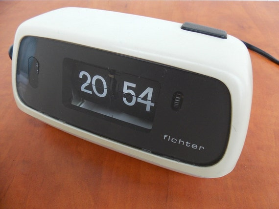 White flip clock light made in germany 60s 70s by White flip clock