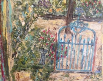 """Original Acrylic Painting on canvas of a """"Garden Gate"""".  16x20 inches."""