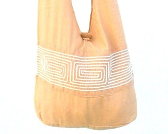 Bohemian Shoulder Bag Crossbody Bag Sling Bag Hippie Hobo Bag Boho Handmade bag Purse Cream Color Flower Cross Body Thai bag / Gift