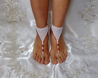Cotton Crochet White Sandals with Red Beads, Wedding, Yoga, Crochet Barefoot Shoes, Lace, Nude Shoes, Bellydance, Beach, Bridal accessories