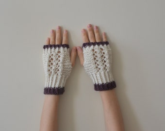 Alpaca Hand Knit Creamy White and Eggplant Lace Fingerless Gloves, Alpaca Gloves, Wool Gloves, Mittens, Women Accessories, Winter Fashion