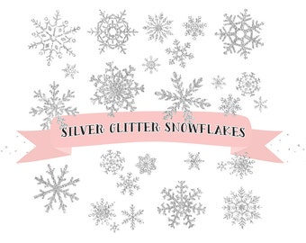 Silver Snowflakes clipart, Snowflake Clipart, Christmas Clip Art, ice crystals clip art, winter clipart, christmas snow clipart