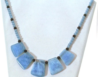 On a Clear Day Chalcedony Beaded Necklace