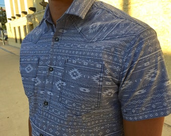 Men's short sleeve button-down shirt, handmade 100% cotton chambray with Western-inspired weave