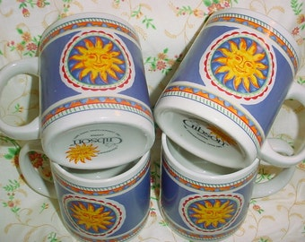 Vintage Sun Ceramic Mugs by Gibson; Set of Four; Coffee Mugs; Blue and Yellow Sun Cups; Sunshine mugs; Sun Face; Sunny Day