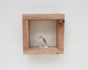 Geometric Rustic Farmhouse Square Shadowbox Shelf, small reclaimed wood home decor, wall hanging
