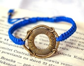 Nautical Blue Bracelet, life ring charm adjustable bracelet, artisan, hand crafted jewelry