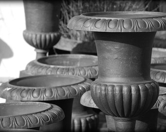 Vintage Urns, Black and White Photography, Outdoor Photography