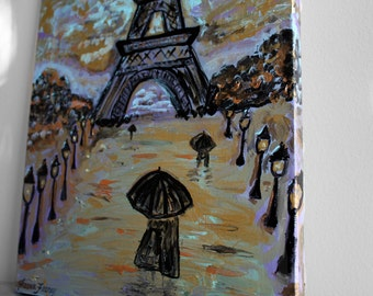 Paris Eiffel Tower Painting, Acrylic Paris Scene, 12x16 Wrapped Canvas.