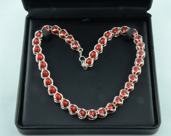 Sterling Silver and Red Coral Necklace