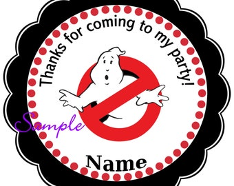 Ghostbusters Personalized Stickers, Party Favor Tags, Thank You Tags, Gift Tags, Birthday, Baby Shower
