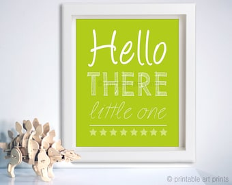 Printable wall art, nursery decor, Hello There Little One printable, instant download, kids wall art, citrus green, 5x7, 8x10, 11x14.