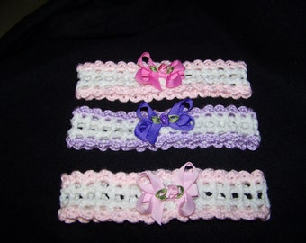 Hand Crocheted Baby Head bands set of 3