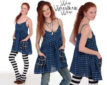 Blue Plaid Babydoll Dress/Gingham Dress/ S/M/L & XL