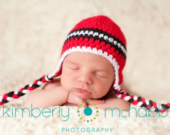 Newborn Hat, Baby Boy Hat, Crochet Baby Hat, Baby Newborn Hat, Ear Flap Hat, Red Black White, Newborn Prop, Boy Ear Flap Hat, Baby Boy