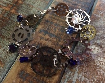Steampunk Style Gear and Bead Bracelet