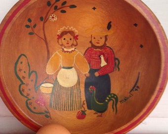 Beautifully Handcrafted Pennsylvania Dutch Folk Art Painted Turned Wooden Bowl with Girl and Boy!