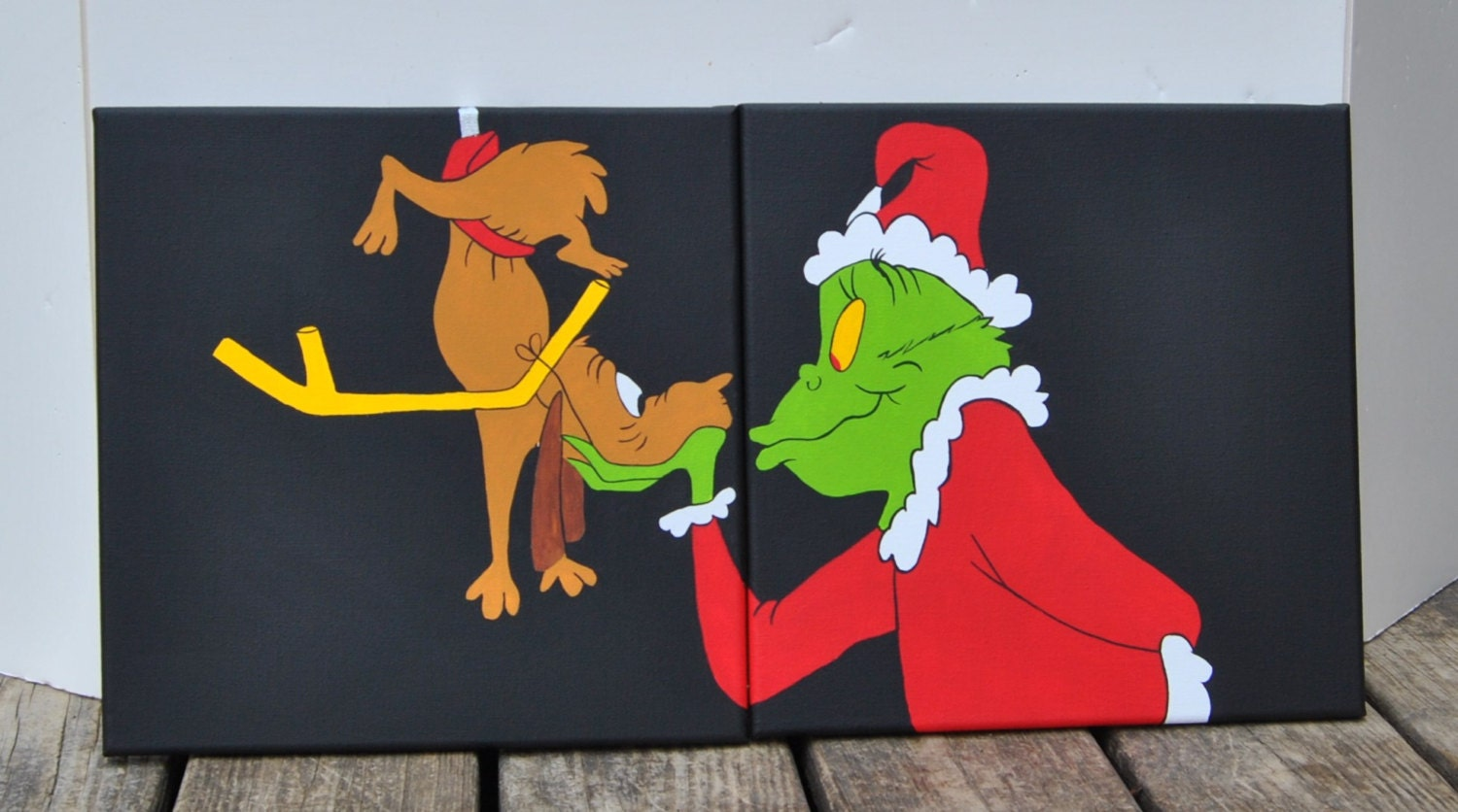 Christmas grinch max canvas painting artwork by for Christmas paintings easy
