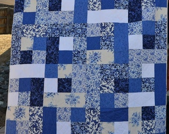 Blue color block quilt
