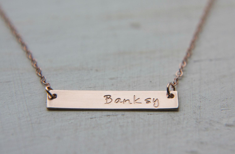 rose gold bar necklace initial necklace name plate necklace. Black Bedroom Furniture Sets. Home Design Ideas