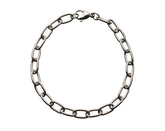 """Rectangular-Loop Stainless Bracelet  for """"Snap-On"""" Charms"""