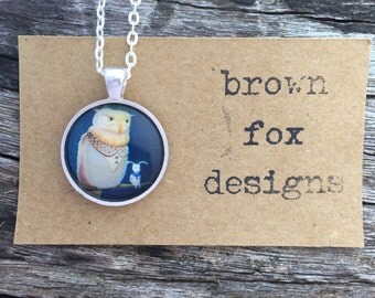 Owl and rabbit circle silver pendant necklace