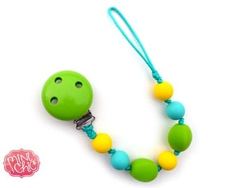 Pacifier clip, pacifier holder, teether, sensory tool, silicone beads, baby shower gift, baby accessory, baby gift, soother clip, chewable