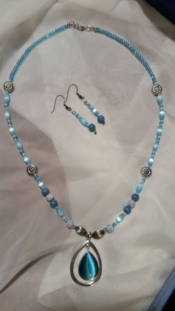 baby blue necklace and earrings by mofabdesigns on etsy