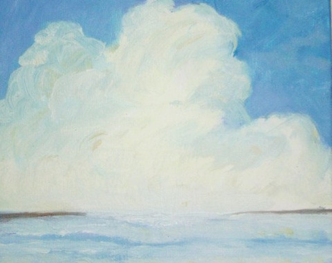 Blue Water & Blue Sky Cloud - Daily Oil Painting - Free Shipping