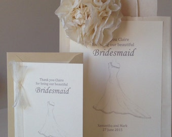 Wedding Gift Bag & Matching Thank You Card For Bridesmaid / Maid of Honour