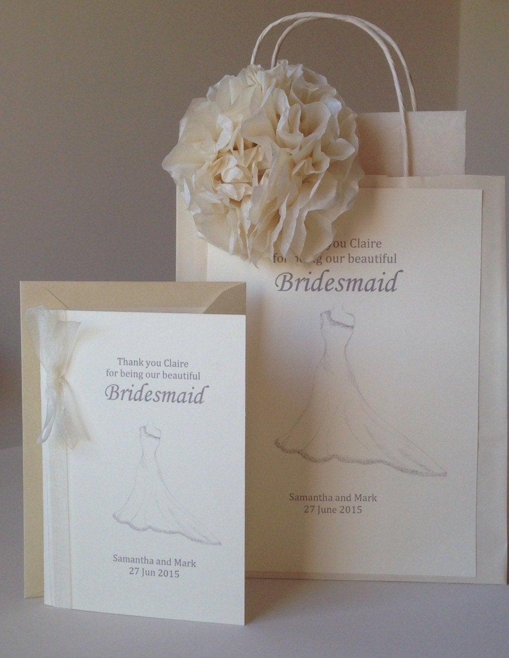 Wedding Gift Thank You Cards Uk : Wedding Gift Bag & Matching Thank You Card For Bridesmaid /