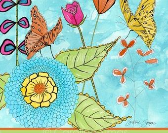 Sketchbook Garden Butterflies -matted print