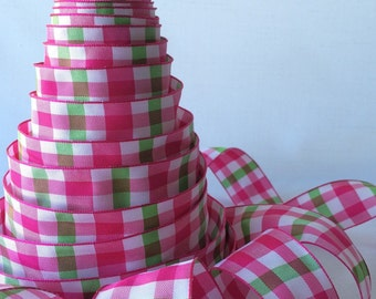 "Pink and green plaid ribbon - 1.5"" wide wired seamless ribbon for bows, Valentine's Day decorations, gifts, wrap"