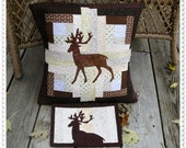 PDF Quilt Pillow Pattern...Appliqued Deer on a Log Cabin block.....easy to make....full size templates