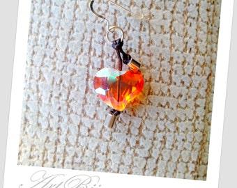 Silver Earrings, Heart Earrings, Crystal Earrings, Dangle Earrings, Long, Modern Earrings, Orange Earrings, Gift Her, Women Gift, Gift Idea