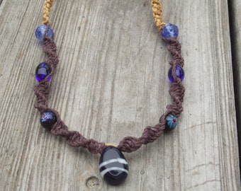 Blue Glass Bead and Hemp Necklace