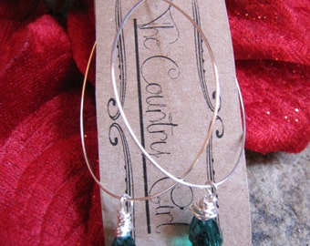 Handbent silver plated artistic wire hoops with Teal Green Briolette beads.