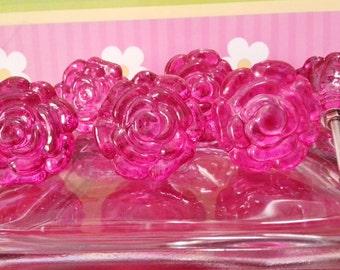 New 6 Pink Rose Flower Knobs Pulls