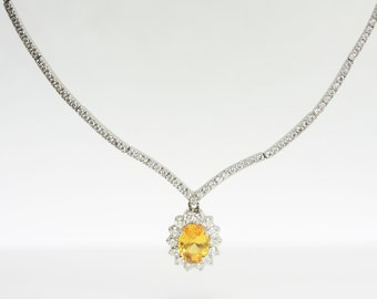 2.70ct Oval Yellow Sapphire And Diamond 14K Gold Necklace