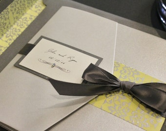 The Pocketfold Collection in Silver / Yellow / Charcoal  Wedding Invitation Suite