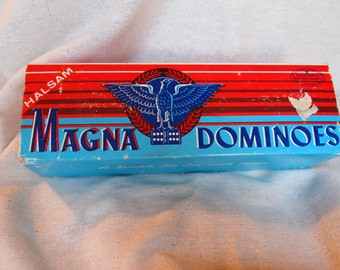 Vintage Halsam Double Six Set Magna Dominoes