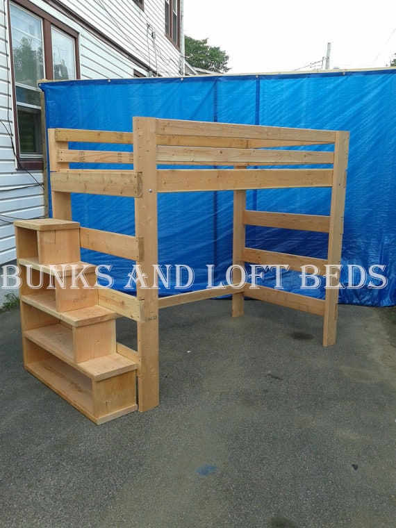 Queen Size Heavy Duty Loft Bed With Stair by BunkAndLoftBedinc