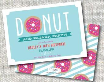 Donuts and Pajama Party: Birthday, Donut Party, Pajama Party, Invitation, Printable, Customizable