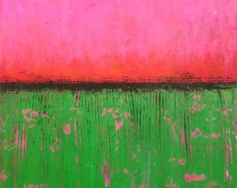 pink and green abstract acrylic