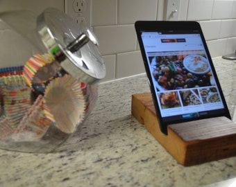 Reclaimed wood iPad or tablet stand