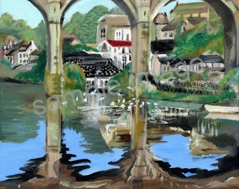 Reflections of Knaresborough, Knaresborough Viaduct, Yorkshire, England. Print of Original Oil Painting by English Artist Claire Strickland