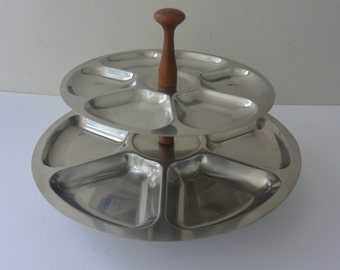 Lundtofte Danish Mid-Century Modern Stainless Steel two-tier Serving platter with original sticker