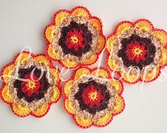Bright coasters,Crochet Coasters,yellow coasters,handmade coasters, crochet coaster,coasters,Flower coasters